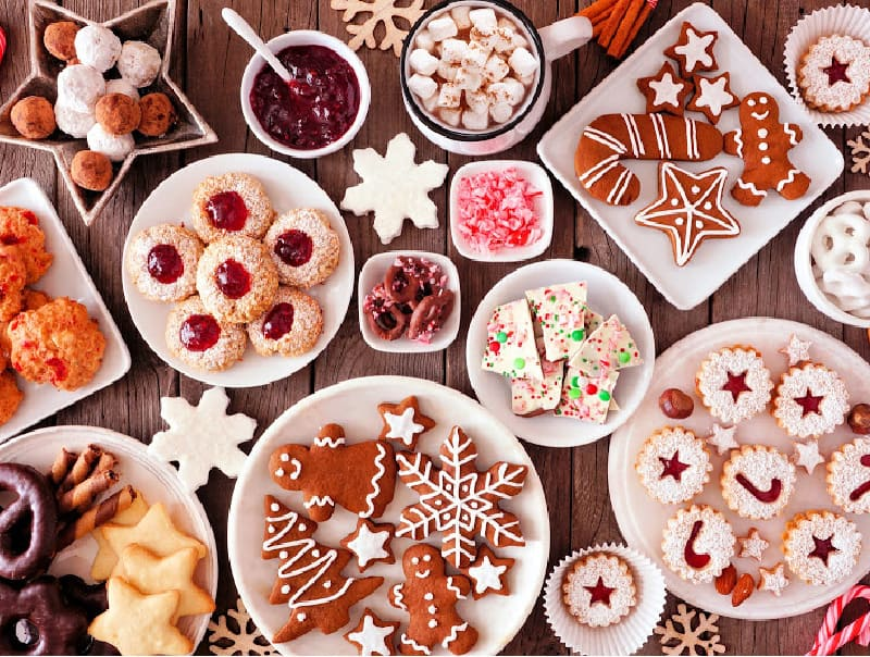 A table full of sweet food for christmas