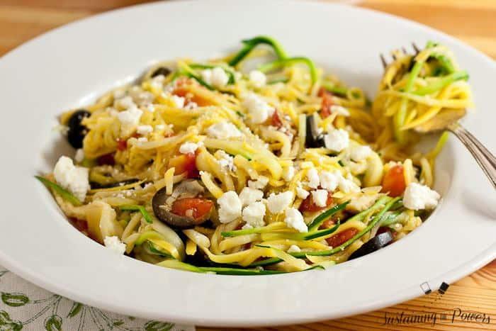 Healthy, budget friendly, Greek style zucchini noodles. Pin me!
