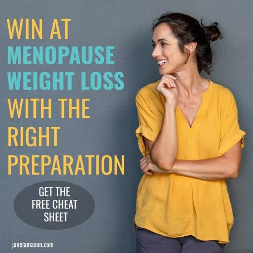 Pin of woman in menopause winning at weight loss