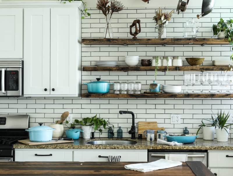 kitchen shelves with utensils