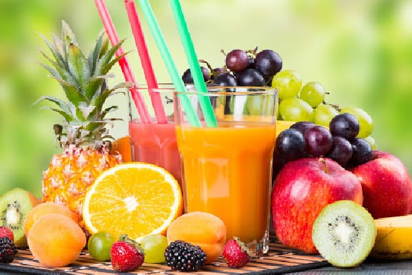 various juices and fruits