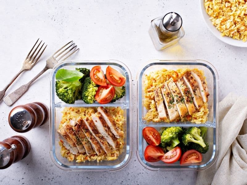 food prep for being organise to lose menopause belly fat
