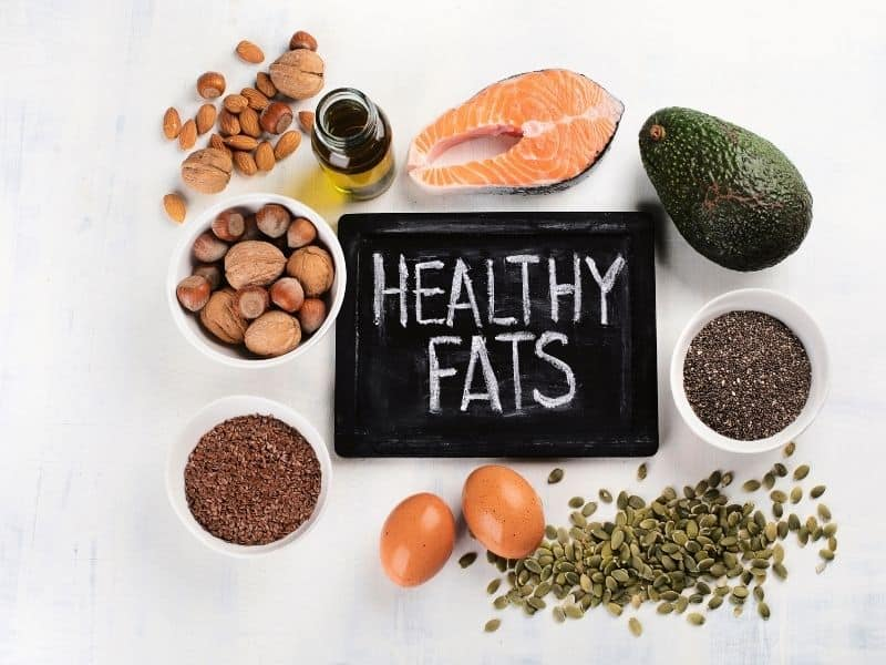 A group of healthy fat foods you would include in a diet to lose menopause belly fat